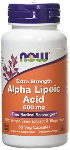 Now Foods Alpha Lipoic Acid with Grape Seed Extract & Bioperine, 600mg - 60 vcaps, 0.2 kg