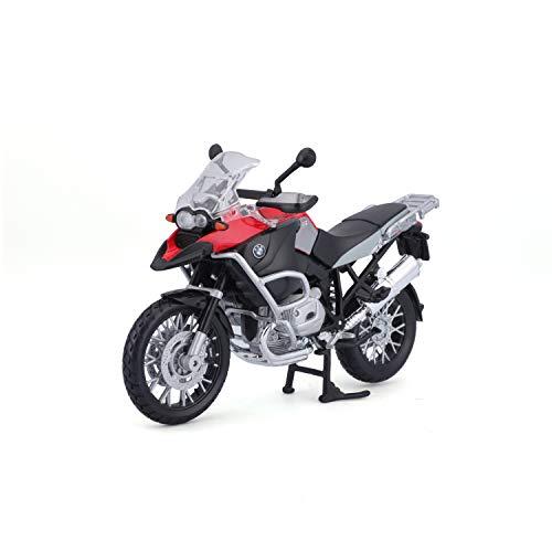 Bauer Spielwaren 2049753 Maisto BMW R 1200 GS: Originalgetreues Motorradmodell, Maßstab 1:12, mit Hinterradfederung und beweglichem Seitenständer, schwarz-rot (531157)