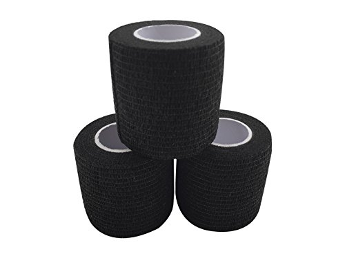 zechy Grip Tape - Hockey, Baseball, Lacrosse, Anything You Need a Better Grip on - 2 inch by 15 feet (3 Pack) (Black)