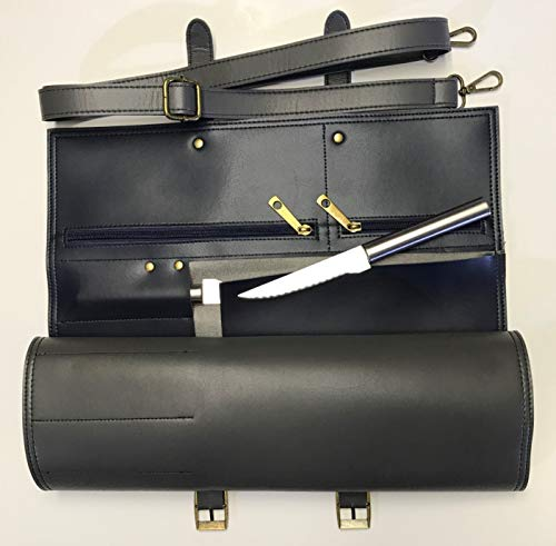MiM Houston Prestigious Chef knife Bag W Business Card Slot Fine Micro Fiber Leather Durable and Stylish Gray Color Knife Bag Roll up with 10 Slots and 2 Large Zipper Pockets