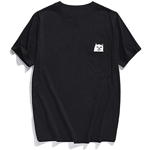 Camisetas Divertidas Hombres Bolsillos de Personalidad Desprecian impresión de Gato Panda Bebiendo Interesante Camiseta de Manga Corta