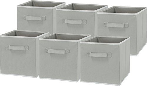 6 Pack - SimpleHouseware Foldable Cloth Storage Cube Basket Bins Organizer, Grey
