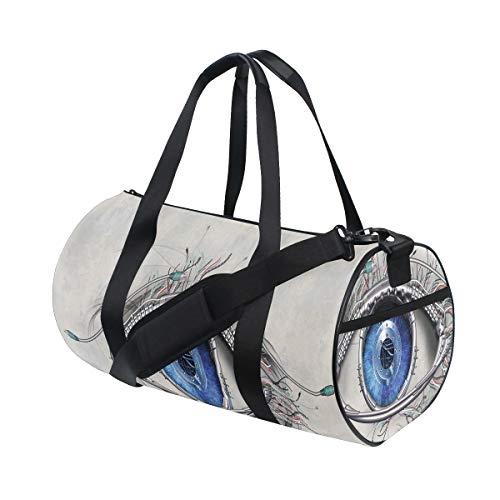 HARXISE Bolsa de Viaje,Estilo futurista Una visión mecánica en Contacto Visual Directo Ciencia e ingeniería,Bolsa de Deporte con Compartimento para Sports Gym Bag