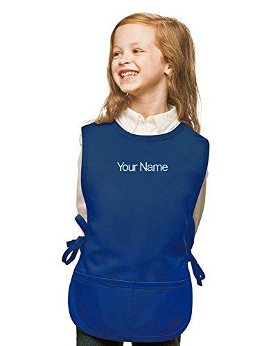 Personalized Royal Blue Kids Art Smock, Cobbler Apron, Poly/Cotton Twill Fabric (Regular)