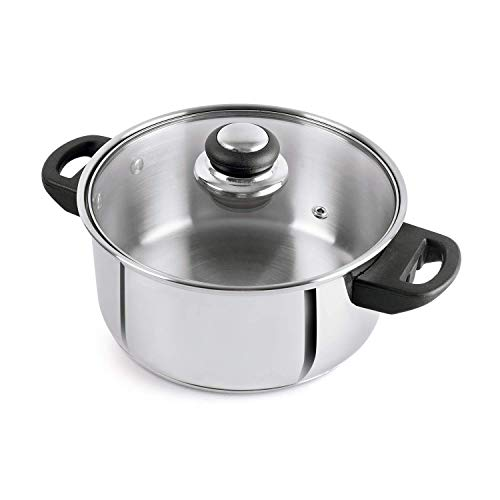 Cello Steelox Stainless Steel Casserole/Handi with Glass Lid, 3L (Silver)