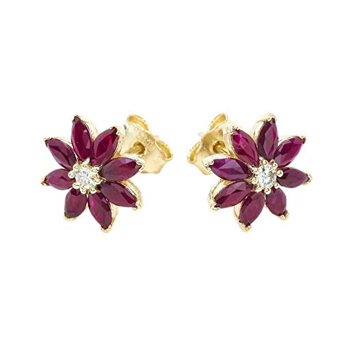 Exotic 14k Yellow Gold Daisy Diamond and Genuine Ruby Flower Stud Earrings