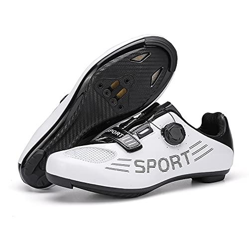 KUXUAN Zapatillas de Ciclismo Hombre Mujer de Carretera SPD Bicicleta Zapatillas de Ciclismo Cordón de Zapatos de Spin Compatible con Pedales Peloton/Look Delta,White-38EU