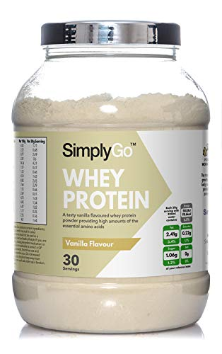 Whey Protein Powder by SimplyGo | 900g | Delicious Strawberry, Chocolate, Banana or Vanilla Flavoured Muscle Building Supplement | Simply Add 30g to Water, Juice or Shakes (Vanilla)