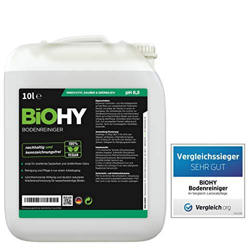 BIOHY Bodenreiniger 10 Liter Kanister | Konzentrat für alle Reinigungsgeräte und alle Hartböden | Angenehmer Geruch und streifenfreie Reinigung