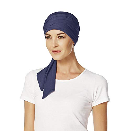 Christine Headwear Christine Headwear Mantra Bambus Uni Turban Kopftuch Damenturban Chemo-Kopfbedeckung (One Size - dunkelblau)