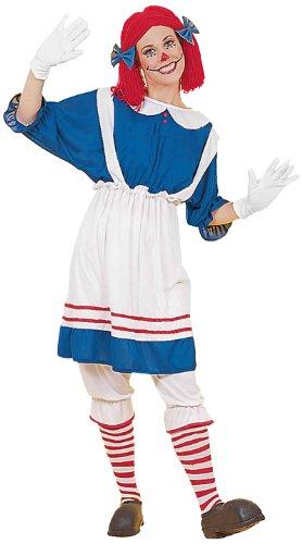 Women's Rag Doll Girl Costume, Blue/White, One Size