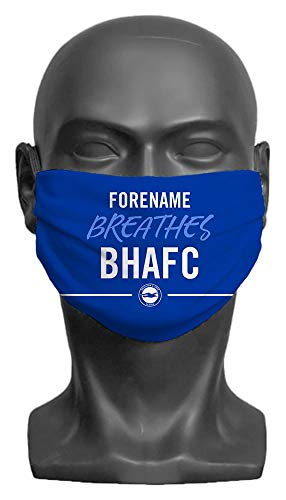 Personalised Compatible With Brighton & Hove Albion FC Breathes Adult Face Mask- Large