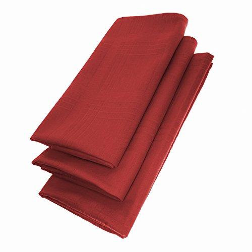 Pack de 3servilletas 44cm x 44cm de algodón 100% en Vino Rojo