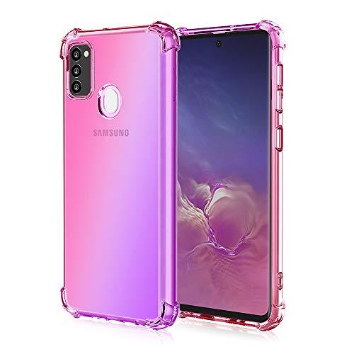 Fodral till Samsung Galaxy M21 fodral, iriserande lutning bakbord hög sida skärm design TPU mjukt skal skal skal skal stötsäkert telefonskal lämplig för Samsung Galaxy M21-rosa lila