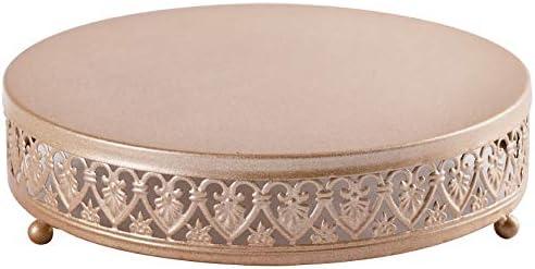 URANMOLE 18K Gold Antique Metal Cake Stand, Round Cupcake Stands, Wedding Birthday Party Dessert Cupcake Pedestal/Display/Plate (12in)