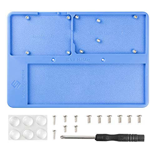SUNFOUNDER RAB Holder Base Plate Case with Rubber Feets for Arduino UNO Mega 2560, Raspberry Pi 4B 3B+ 3B 2B 1 Model B 1A and 400 800 Points Breadboard