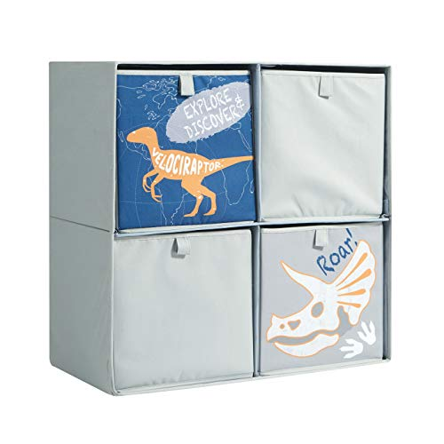Heritage Kids Dinosaur Theme Printed Collapsible Soft Storage Cubby with 4 Collapsible Cubes, 23' W x 23' H, Grey