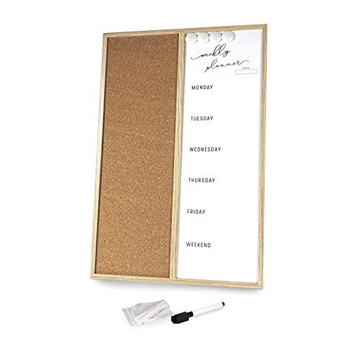 Pizarra magnética multiusos 2 en 1 de pared, pizarra blanca borrable con tablero de corcho y calendario semanal, para colgar en la pared de la cocina y la oficina, marco de madera