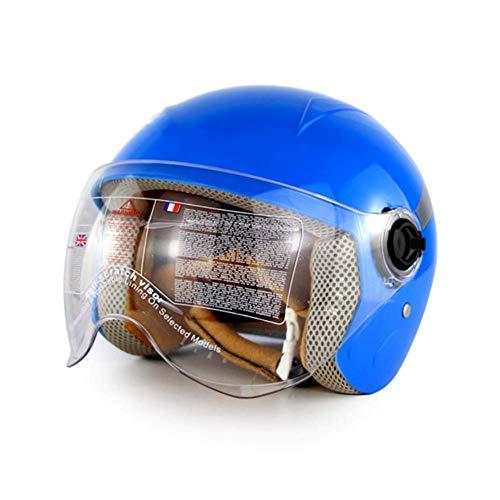 ZZ helmet Casco Moto Bambini, Certificato CE Casco da Bici per Bambini età 3-12 Anni Ragazze per Attrezzi protettivi Sportivi per Hoverboard Scooter BMX e Bicicletta,Blu,XL
