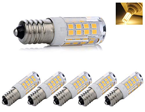 E14 led Light Bulb dimmable, e14 European Screw Base LED Light Bulbs 40 Watt Incandescent Bulb Equivalent, T3/T4 European Base Replacement Omni-Directional,Warm White 3000k(5-Pack)