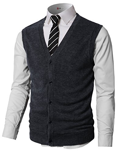 H2H Men Lightweight Cool Dri Solid Knitwear Button-up V-Neck Sweater Vest Navy US 2XL/Asia 3XL (CMOV046)