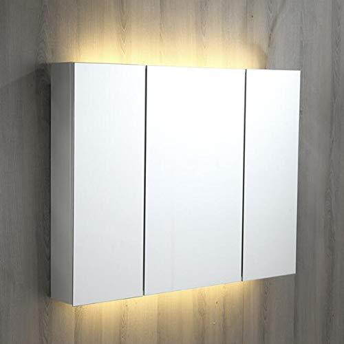 Qzny Badkamer Spiegelkast Wandgemonteerde Verlichte Triple Door Opslag Eenheid RVS Geschikte Badkamer