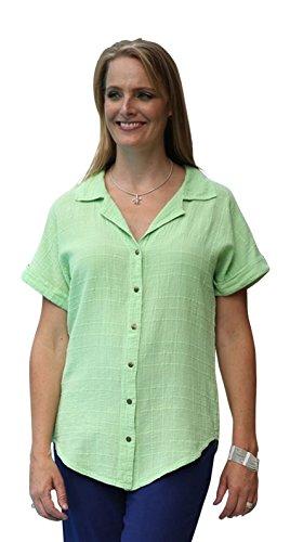 Ezze Wear Women's Ronnie Cotton Gauze Snap Shirt Tunic Top (3X, Green)