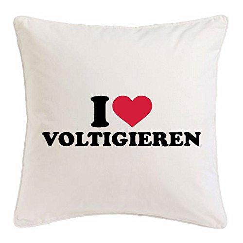 Reifen-Markt Funda de cojín de 40 x 40 cm, diseño con texto en inglés 'I Love Voltigieren'