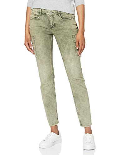 Street One Damen 373378 Cargohose Style York Slim Fit Hose, Misty Green Colour Denim, W28/L30