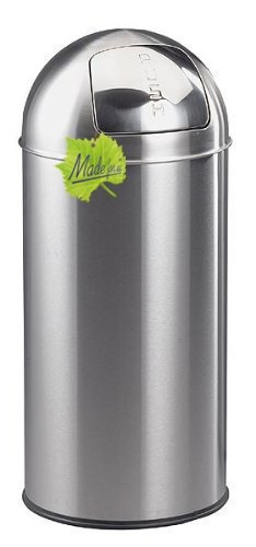Made for us 30 Liter Edelstahl Retro PUSH-Abfalleimer mattiert 30er-Jahre Mülleimer nostalgie Küchen-Mülleimer Abfall-Behälter