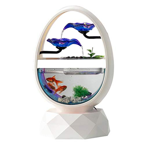 Desktop Waterfall Fountain Desktop Fountain 2 Layers Waterfall Water Flow Landscape Home Decorations Goose Egg Shaped Fish Tank Desktop Fountain Novelty Gift Decorative Fountain for Home and Office