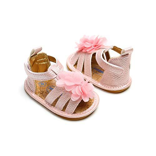 Lacofia Sandalias de Verano para bebé niñas Zapatos de Vestir de Flores de Infantiles para bebé Rosa 0-3 Meses
