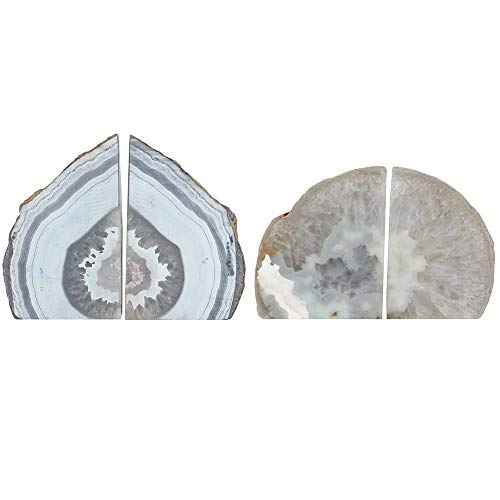 Par de sujetalibros de ágata natural, 1,5 kg aprox. 11 x 13 x 6,5 cm