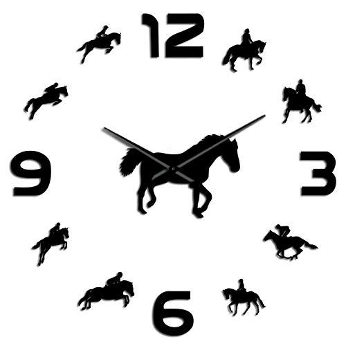 YQMJLF Reloj Pared DIY 3D Grande Carrera de Caballos Equitación Efecto Espejo Acrílico Reloj Ecuestre DIY Barrido silencioso Acrílico Reloj de Pared Ecuestre Moderno Decoración hogar Negro
