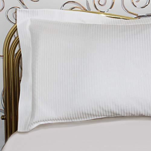 Giovanni Dolcinotti Bed Collection | Set 2 Federe Cuscino - Made in Italy (Rigato Bianco, 50x80)