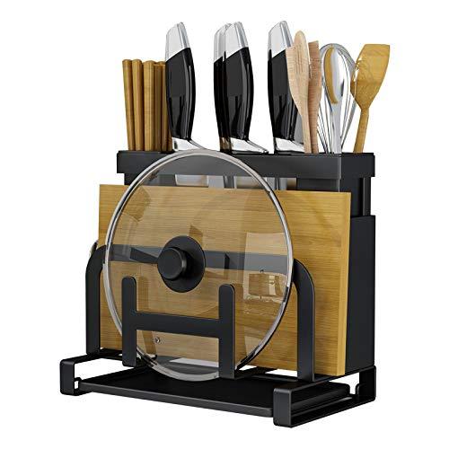 Metal Knife Block,3 in 1 Knife/Chopping Board/Pot Lit Organizer,Drying Rack Kitchen Countertop Storage, Knife Set Storage Rack, Cutting Board Holder,Multifunction Kitchen Accessories Shelf