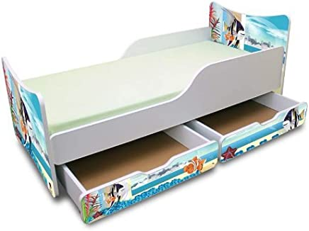 BEST FOR KIDS- Children Toddler bed- wooden low sleeper with Guardrails  Drawers 90x200 Aquarium