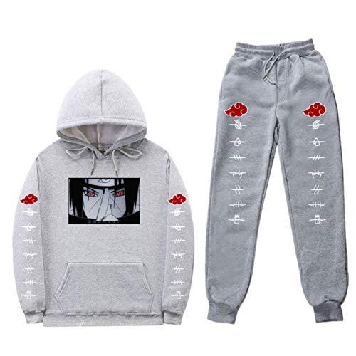 Streetwear Japanese Anime Naruto Print Hoodie Set Tracksuit Men Thermal Sportswear Sets Hoodies and Pants Suit Casual Sport Suit