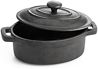 TableCraft Cast Iron Mini Oval Casserole with Lid Cookware, 8-Ounce, Black