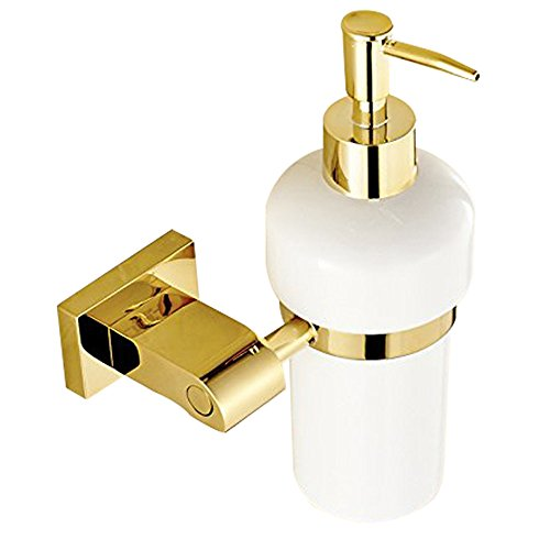 Weare Home Deko Design Luxus Modern Poliert Gold Finished Messing Seifenspender mit Halter Wandmontag Befestigung Wandhalterung Bohren für Badezimmer Dusche Küche