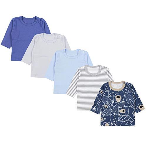 TupTam Camiseta Manga Larga para Bebé Niño, Pack de 5, Mix de Colores 4, 62