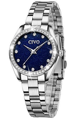 CIVO Damenuhr Damen Silber Sternenhimmel Uhren Edelstahl Designer Armbanduhr Wasserdicht für Damen Elegante Analoge Quarz Uhr