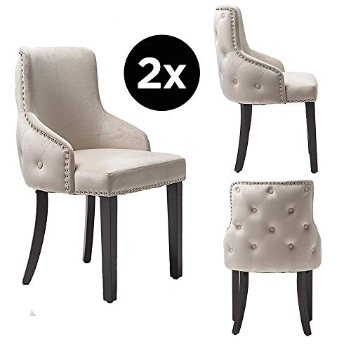 PS Global Grace Esszimmerstühle| einfache Montage| Chrom Studding| getuftete Rückseite| Tiefe Knopfleiste| Plüsch Samt| 2 Stück cremefarben