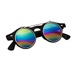Sunglasses Men's Ladies Flip Up Lens U400 Protection Vintage Classic Steampunk Look (A1 Rainbow) #2