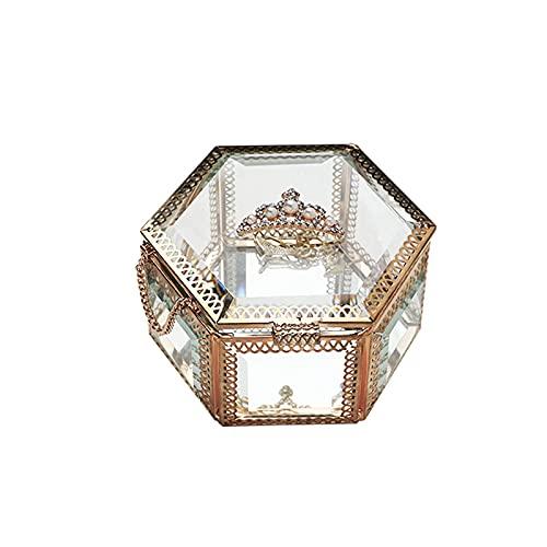 OMYLFQ Caja de joyería Retro Europea de joyería Creativa de joyería de Vidrio de joyería aretes Pendientes de Escritorio Mostrar artesanía contenedores, Regalo para Mujeres (Size : B)