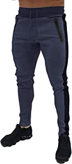 Mens Track Pants Drawstring Stripe Open Bottom Athletic Joggers Sweatpants