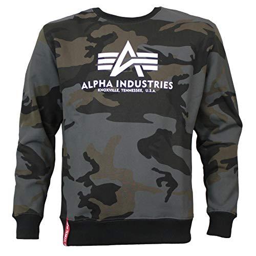ALPHA INDUSTRIES Men Sweatshirt Basic Camo, Color:Black Camo, Talla:XL