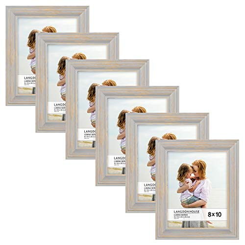 Langdon House 8x10 Real Wood Picture Frames (6 Pack, Gray - Gold Accents), Wooden Photo Frame 8 x 10, Wall Mount or Table Top, Lumina Collection