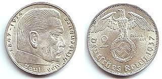 2 Reichsmark Hindenburg Coin - 1937 German 2 Marks - Nazi Silver -- Third Reich Swastika Coin