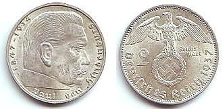 Third Reich 2 Reichsmark Hindenburg Coin - 1937 German 2 Marks - Nazi Silver Swastika Coin